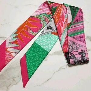 BNIB Hermes Cheval Phoenix Twilly Pink Green